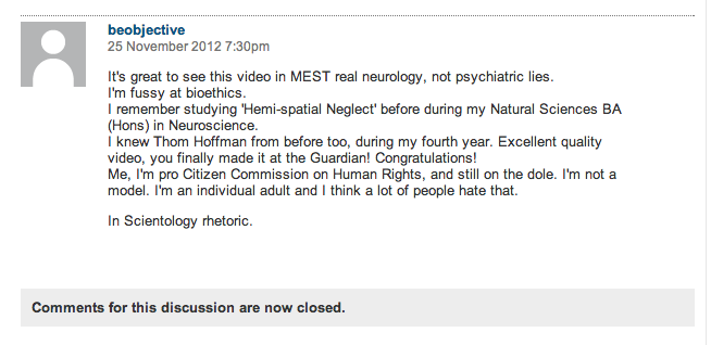 My favourite video comment ever. I'm pretty sure I don't know this person… Though I wish I did. http://www.guardian.co.uk/science/blog/2012/nov/23/man-brain-ignores-half-world