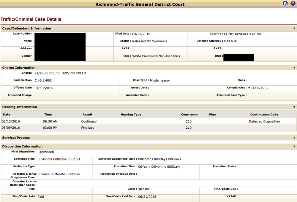 Reckless Driving, EZ pass lane, Richmond Traffic Court, RADEP, Virginia, Traffic Attorney, Lawyer, Dismissal, No points
