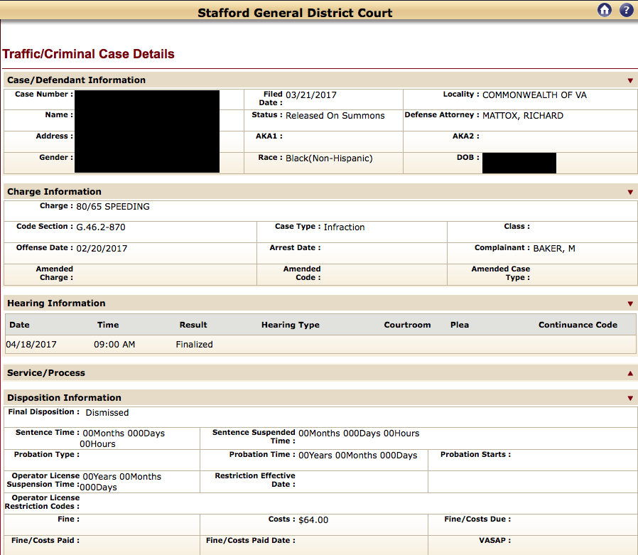 Speeding in Virginia, reckless driving attorney, stafford general district court