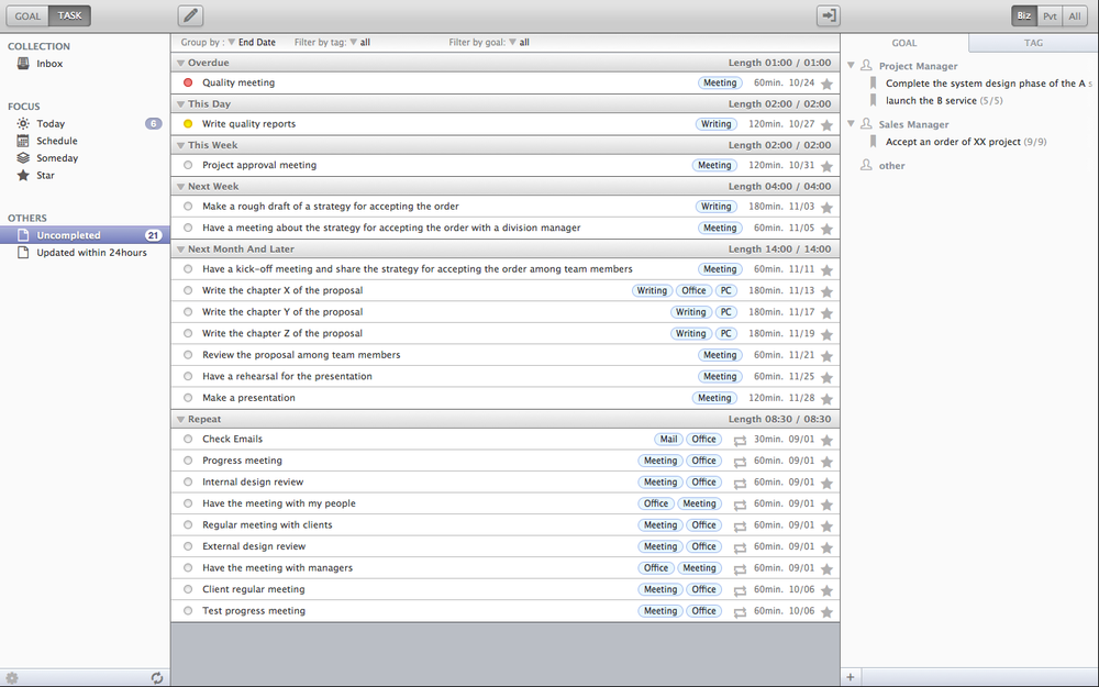 An example of the task view : the task lists
