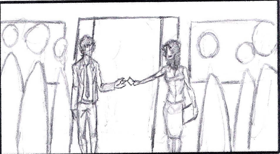 Storyboard: Virgil finally meets April, more of a puppy love bordering on obsession. See the whole scene here.
