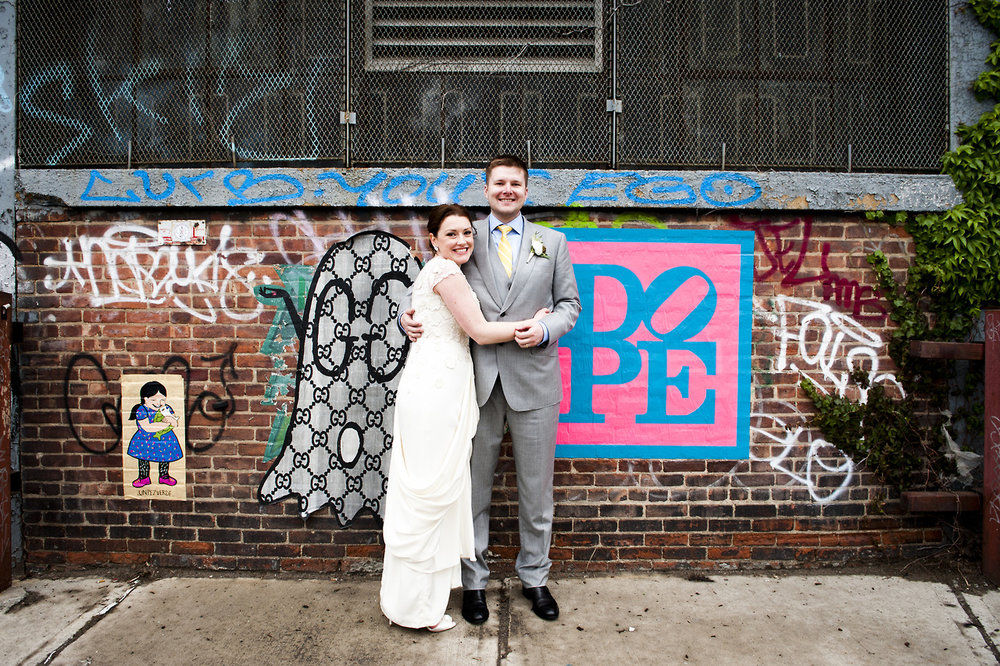 Newlywed couple in Williamsburg, Brooklyn  2015