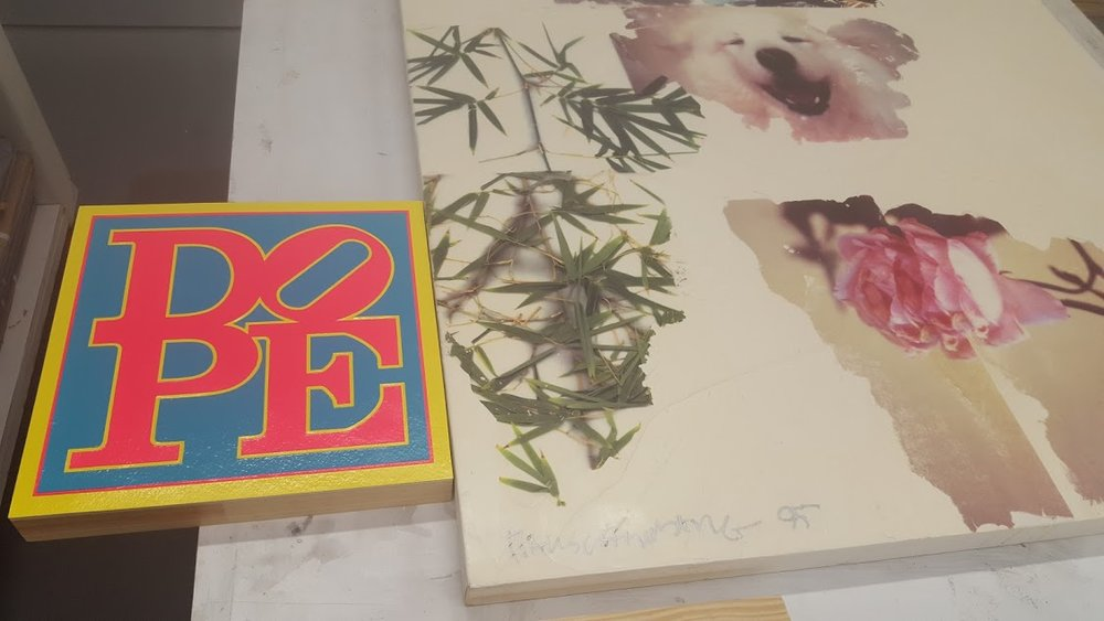 Mini DOPE next to Rauscheberg's Encaustic in the Darryl Pottorf Studio