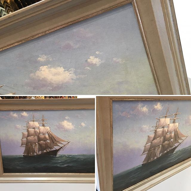 Beautiful old painting from 1905.  Don't think there is a better frame for it than this grey Begere from Larson Juhl. Luckily @louisofmontecito was walking by and suggested it for the customer. #customframing #oilpainting #nauticalart@larsonjuhl #pictureframing