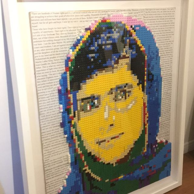 School art project. Malala with Legos. #customframing #shadowbox #schoolartwork #malala