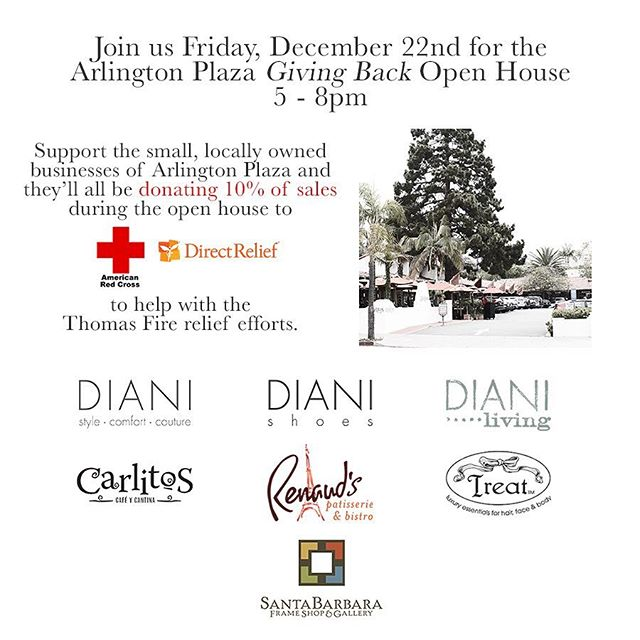 Come one, come all!  We are all looking forward to seeing you tomorrow night from 5-8PM. 10% of all sales go to aid those affected by the Thomas Fire. @americanredcross @directrelief @arlingtonplazasb @dianiboutique @dianiliving @carlitoscafeycantina @treatthyselfsb @renaudspatisserie #thankstofirefighters #shoplocal