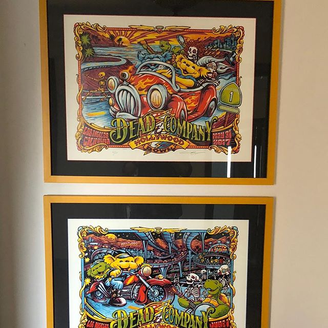 Perhaps apropos for the day. A pair of Dead and Company concert posters in the natural habitat, hanging on the wall #customframing #concetposter #deadandcompany