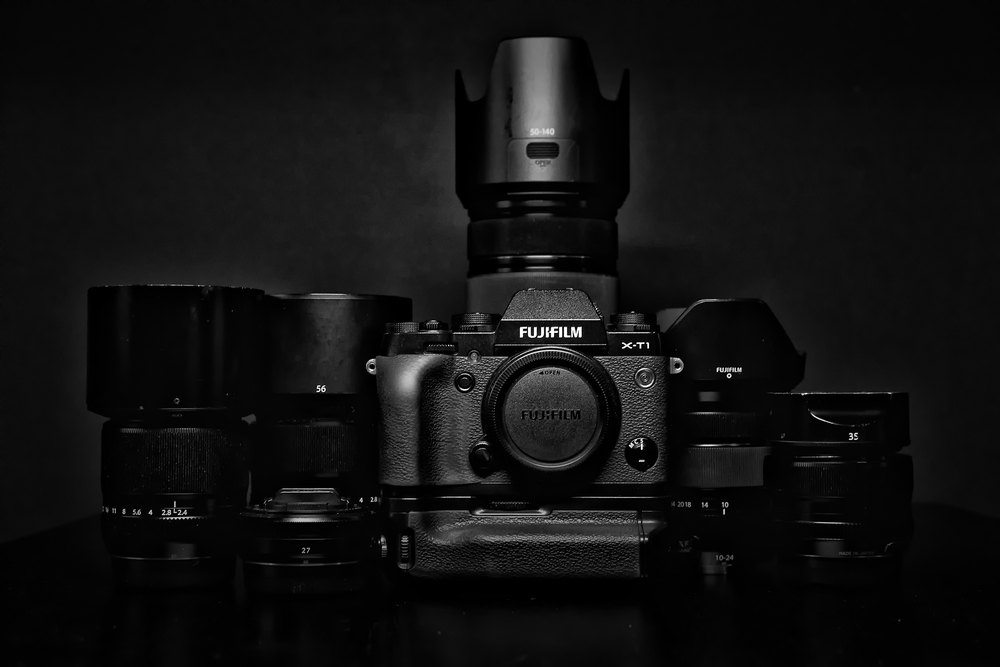 Fuji X-T1, and 35mm 1.4, 60mm 2.4 Macro, 56mm 1.2, 10-24mm 4.0, 27mm 2.8, and 50-120mm 2.8