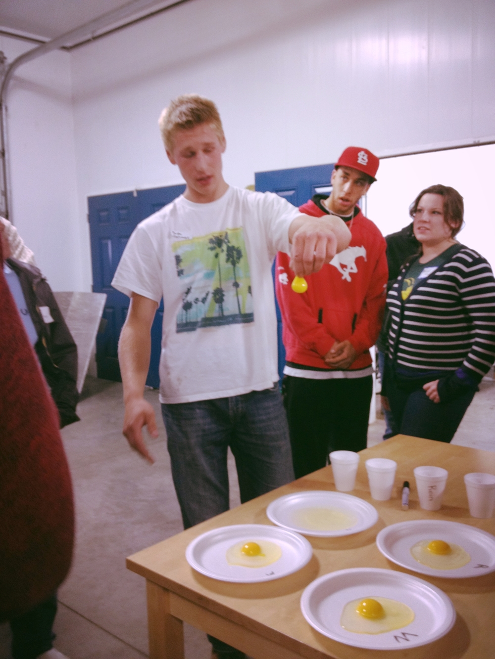 Josh giving an egg demonstration
