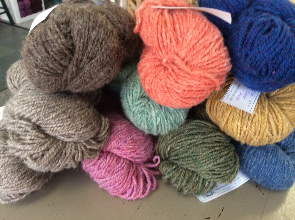 "Meeting House Farm:  All this wool is from New England sheep.  The Shepard-Pohlman Family, who live in Lincoln, raise their own sheep and then take their fleeces to Maine to be blended with fleece from around New England.  The colors in season are the same large dye-lot, so finding enough for a sweater is easy.  We have plenty and can ""get more where that came from!"""