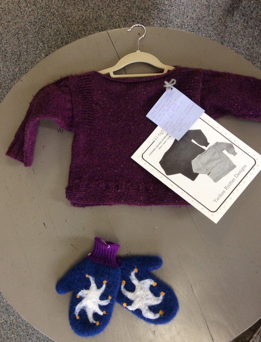 This sweater knit with Meeting House Farm wool, was worn, but not worn out as you can clearly see, by two children over 25 years ago, and the mittens felted up beautifully.