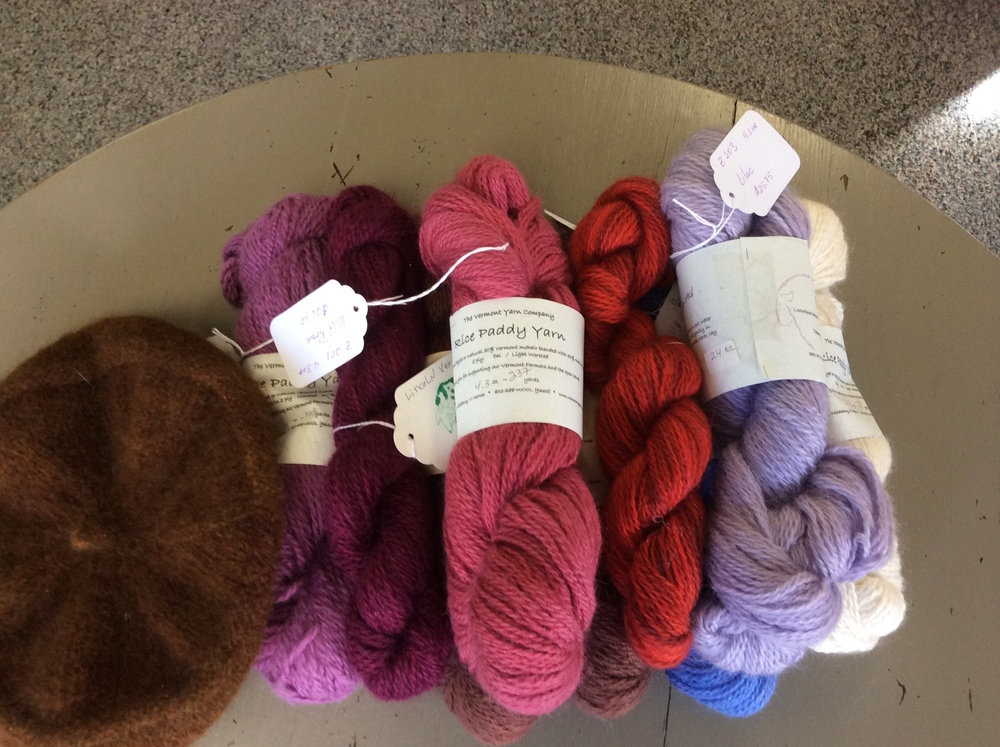 This is the Rice Paddy blend of merino and mohair; the mohair comes from angora goats.  Hand-dyed in gorgeous small lots, this is perfect yarn for hats, mittens, and scarves.