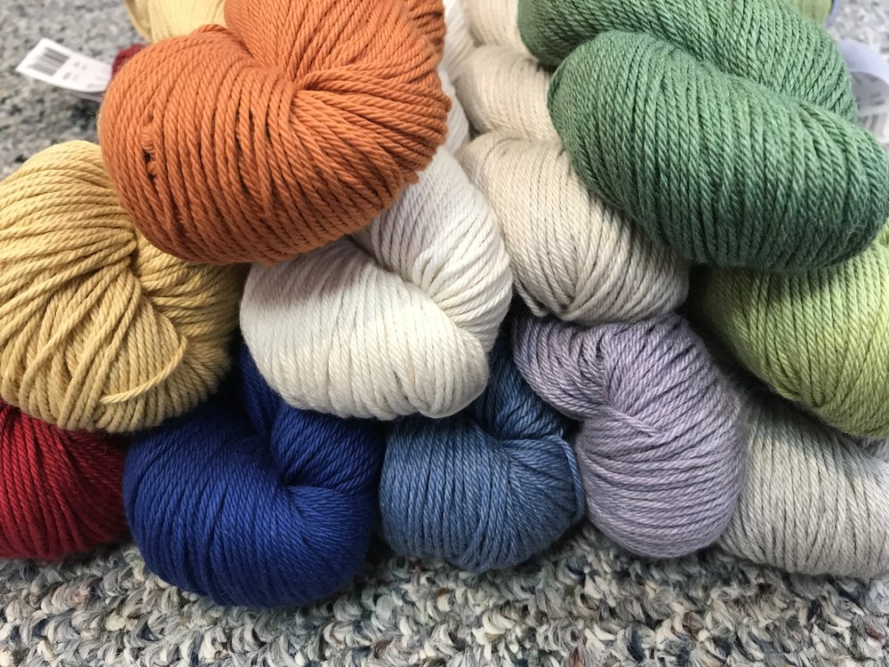 Berroco Pima 100 Cotton is the softest cotton in the best colors! Perfect for that baby sweater, or ANY sweater! Knit on sz7, 5sts/in, this is a versatile worsted that you're going to love.