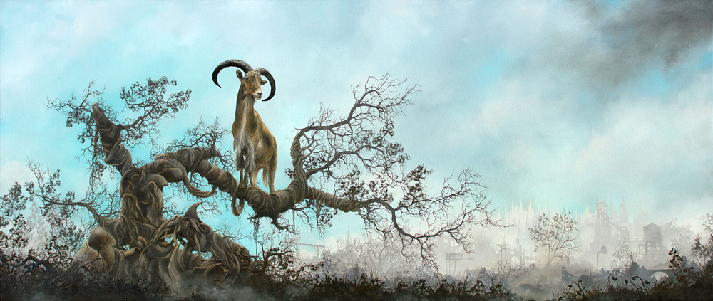"BARBARY SHEEP oil on canvas - 26"" x 11"" - 2015 UN Rising collection, Berlin"