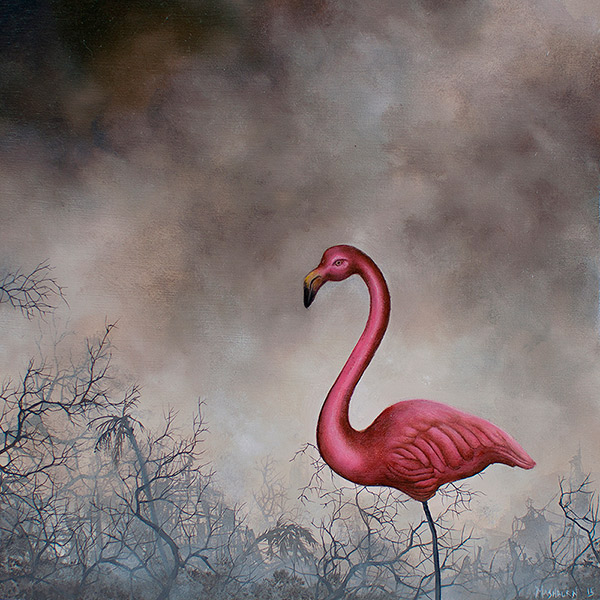 "PLASTIC PINK FLAMINGO oil on panel - 6"" x 6"" - 2015"