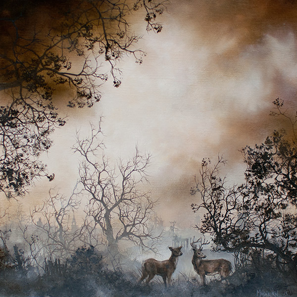 "TWO DEER oil on panel - 6"" x 6"" - 2015"