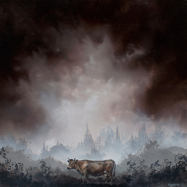"COW oil on panel - 6"" x 6"" - 2015"