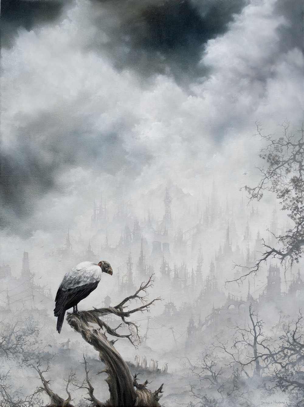 "'KING VULTURE' oil on linen 12"" x 16""  2015 prints available through Static Medium"