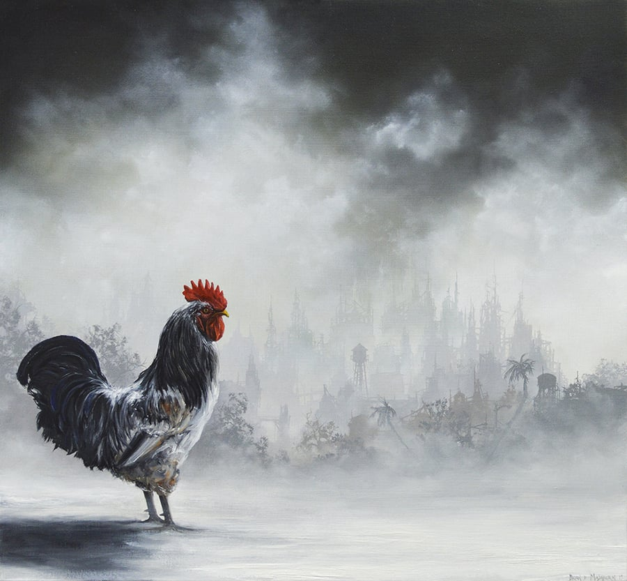 "'COCKEREL' oil on wood panel 13"" x 12"" - 2015"