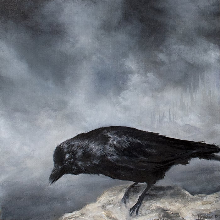 "'CROW STUDY' 6"" x 6"" oil on panel - 2015"