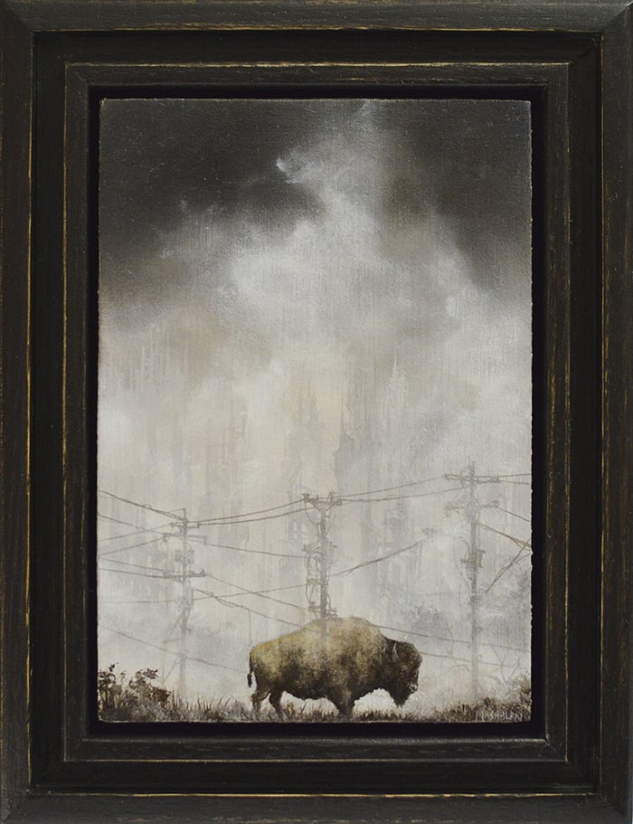 "'BISON STUDY' 3.5"" x 5"" oil on panel Small Wonders 4 - Arch Enemy Arts, Philadelphia"