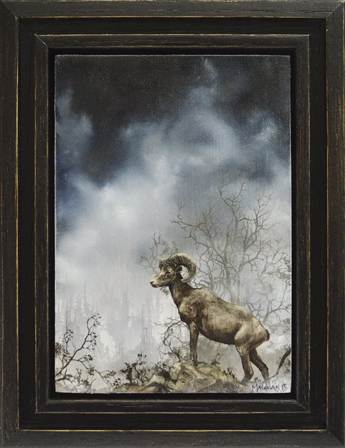 "'BIGHORN STUDY' 3.5"" x 5"" oil on panel Small Wonders 4 - Arch Enemy Arts, Philadelphia"
