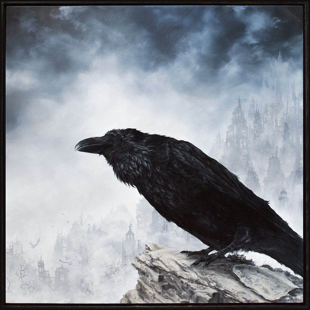 "'CARRION CROW' 12"" x 12"" oil on panel Small Wonders 4 - Arch Enemy Arts, Philadelphia"