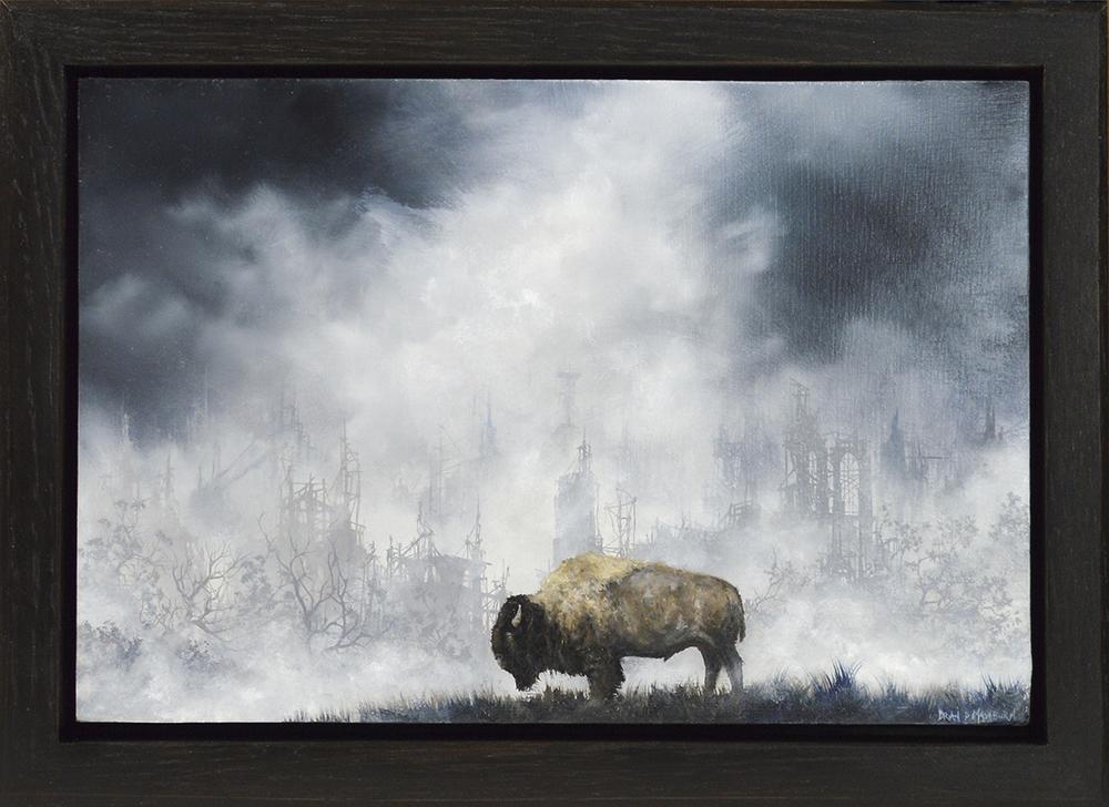 "plains bison 9"" x 6"" oil on panel"