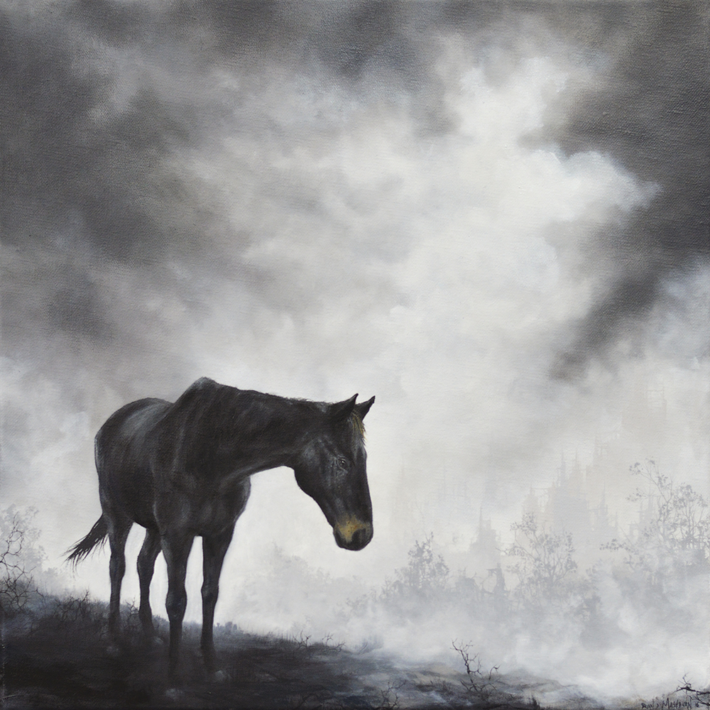 "black horse  12"" x 12"" (framed to appx 13"" x 13"") oil on linen    available: Arch Enemy Arts, Philadelphia PA"