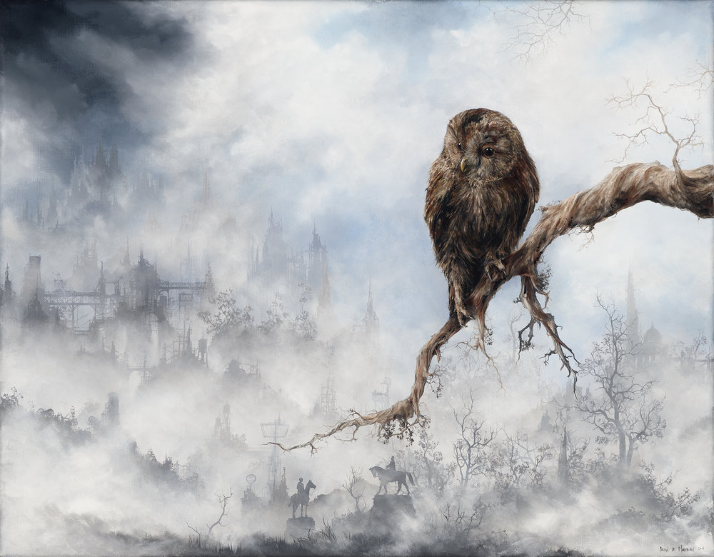 "tawny owl  18"" x 14"" oil on linen"