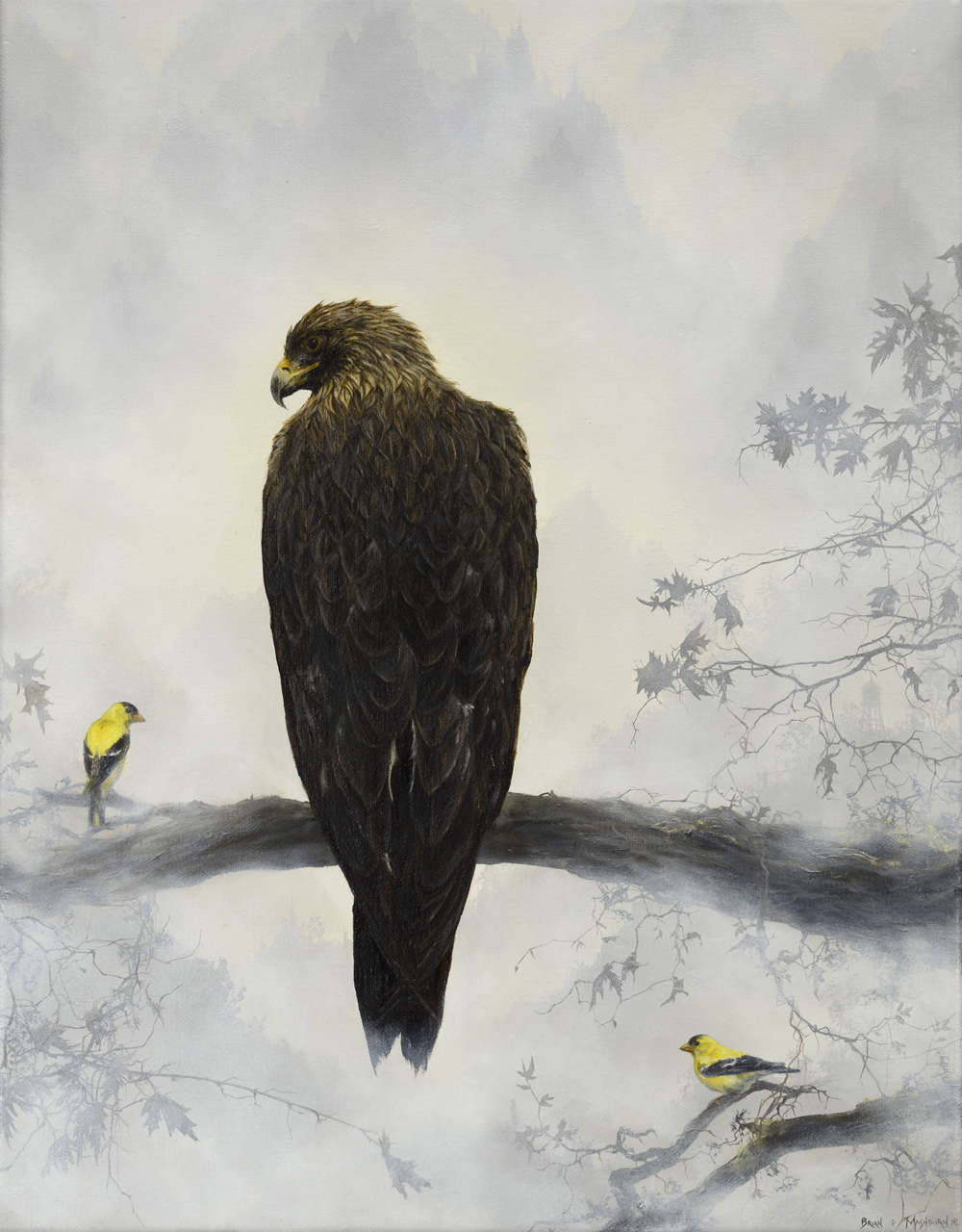 golden eagle with goldfinches
