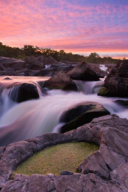"""Creation"" - Sunset along the Potomac River with a slimy, goopy, algae cauldron in the foreground. Great Falls National Park, Maryland."
