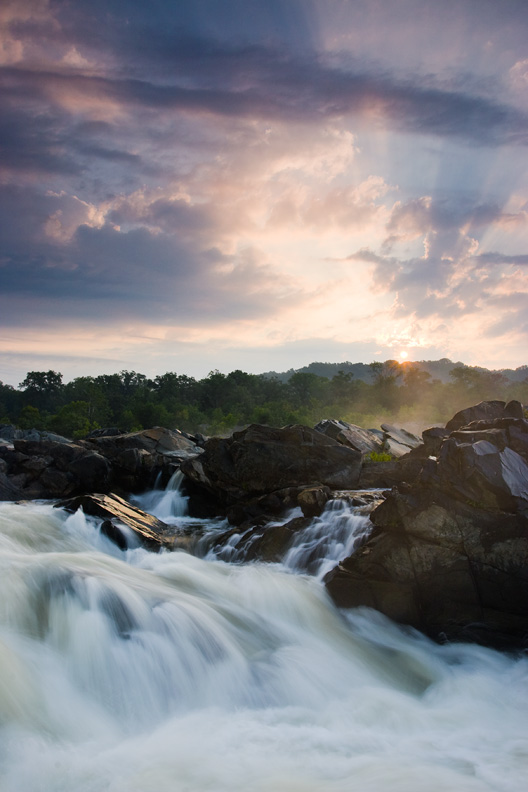 """Rising Sun"" - Sunrise on the Potomac River. Great Falls National Park, Virginia."