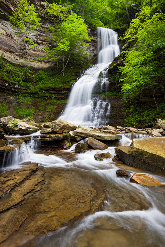 """Cathedral Falls"" - Towering Cathedral Falls in spring. West Virginia."