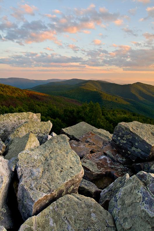 """Peaceful Sunrise"" - A peaceful pastel summer sunrise. Blackrock Summit, Shenandoah National Park, Virginia."