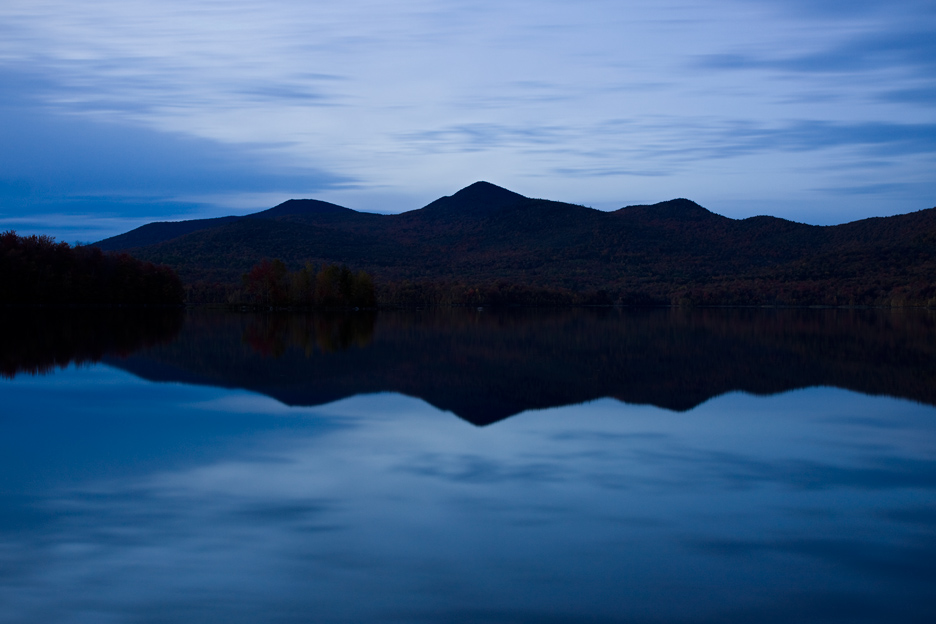 """The Blues"" - A blue and somber photograph of a large pond at dusk. Vermont."