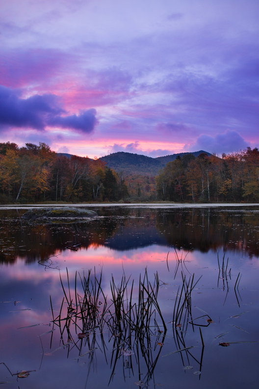 """Cool Sunrise"" - A colorful magenta sunrise over a small pond in central Vermont."