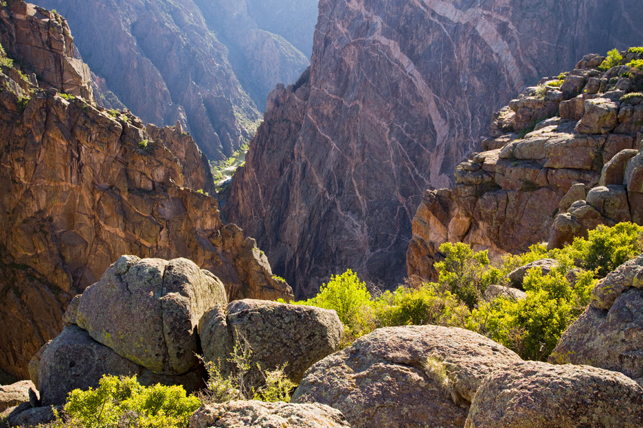 """Canyon Glow"" - Warm afternoon sunlight shimmers and radiates in Black Canyon of the Gunnison National Park, Colorado."
