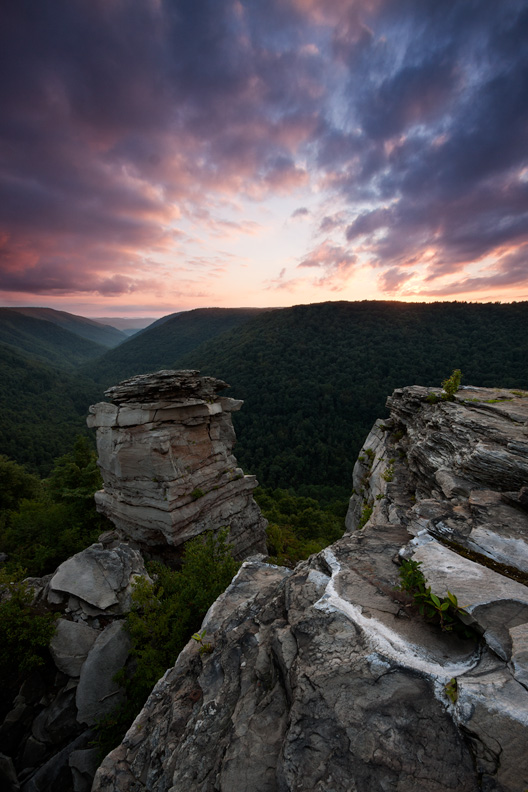 """The Inevitable Conclusion"", Sunset at Lindy Point Overlook, Blackwater Falls State Park, West Virginia."