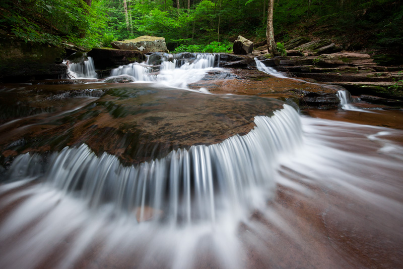 """Summer's Flow"" - Summertime Waterfall in Rickett's Glen State Park, Pennsylvania, United States."