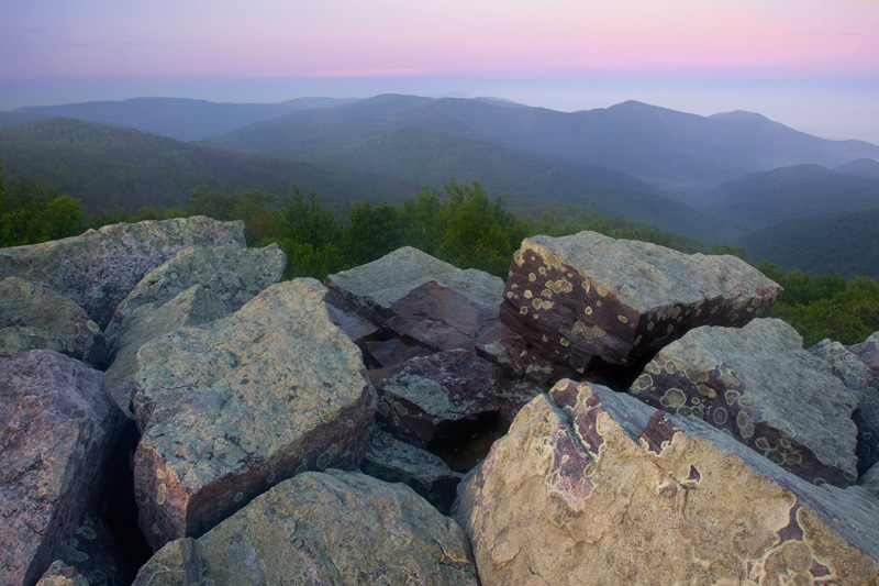 Earth Shadow over the Blue Ridge, Blackrock Summit, Shenandoah National Park, Virginia, United States.