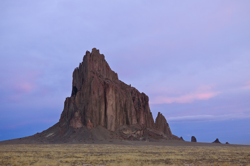 Shiprock During a Pink Pastel Sunrise, New Mexico, United States.