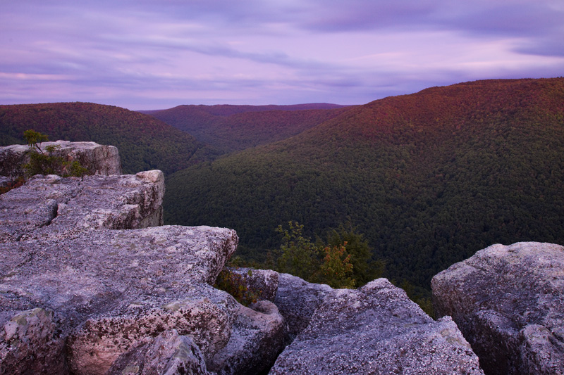 Blurred Clouds and Earth Shadow During Sunset, Table Rock Overlook, Monongahela National Forest, West Virginia, United States.