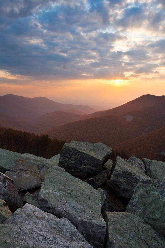 Autumn Sunset, Blackrock Summit, Shenandoah National Park, Virginia, United States.