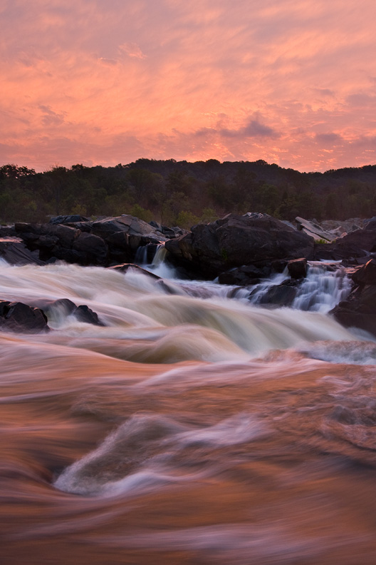 Red Sunrise, Great Falls National Park, Virginia, Maryland, United States.