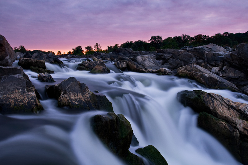 Cloudy Magenta Sunrise, Great Falls National Park, Virginia / Maryland, VA / MD, United States.