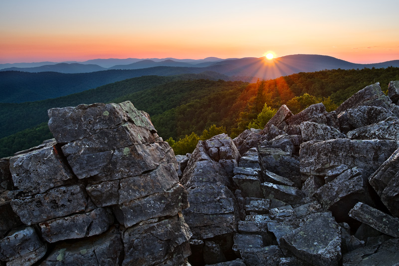 Sunrise Over Blackrock Summit, Shenandoah National Park, Virginia, United States.