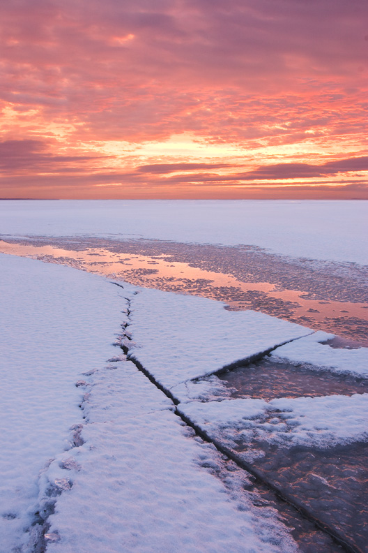 Icy Sunrise, Oneida Lake, West Monroe, New York