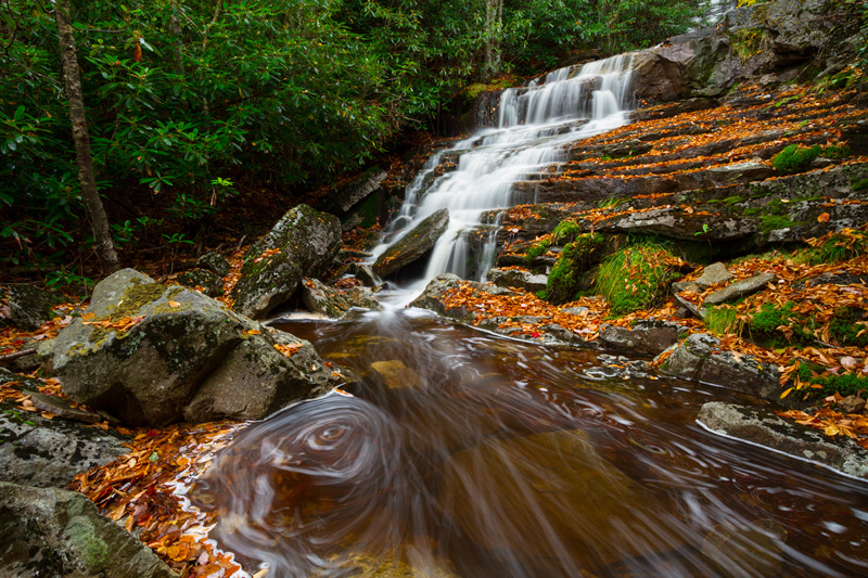 """Contentment in Solitude"" - Secret waterfall in autumn, Monongahela National Forest, West Virginia."