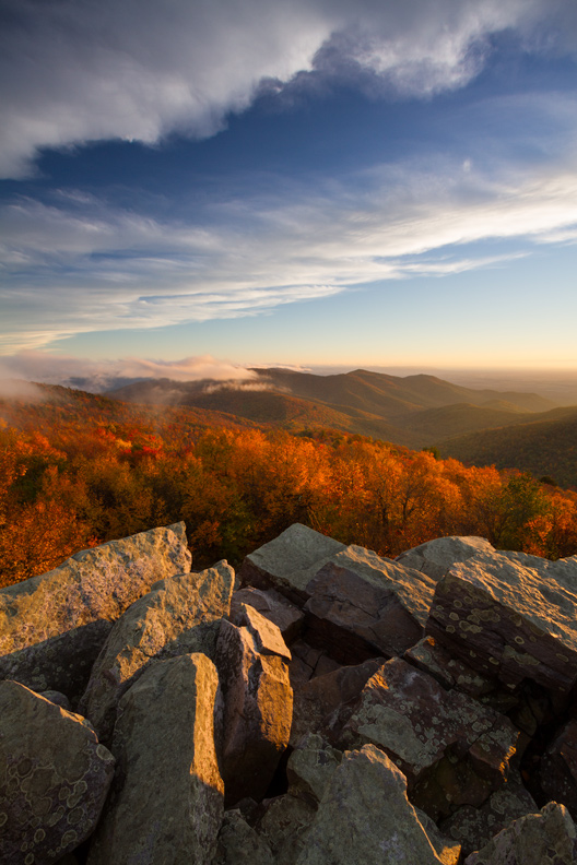 """Idealist's Viewpoint"" - An autumn sunset from atop Blackrock Summit, Shenandoah National Park, Virginia."